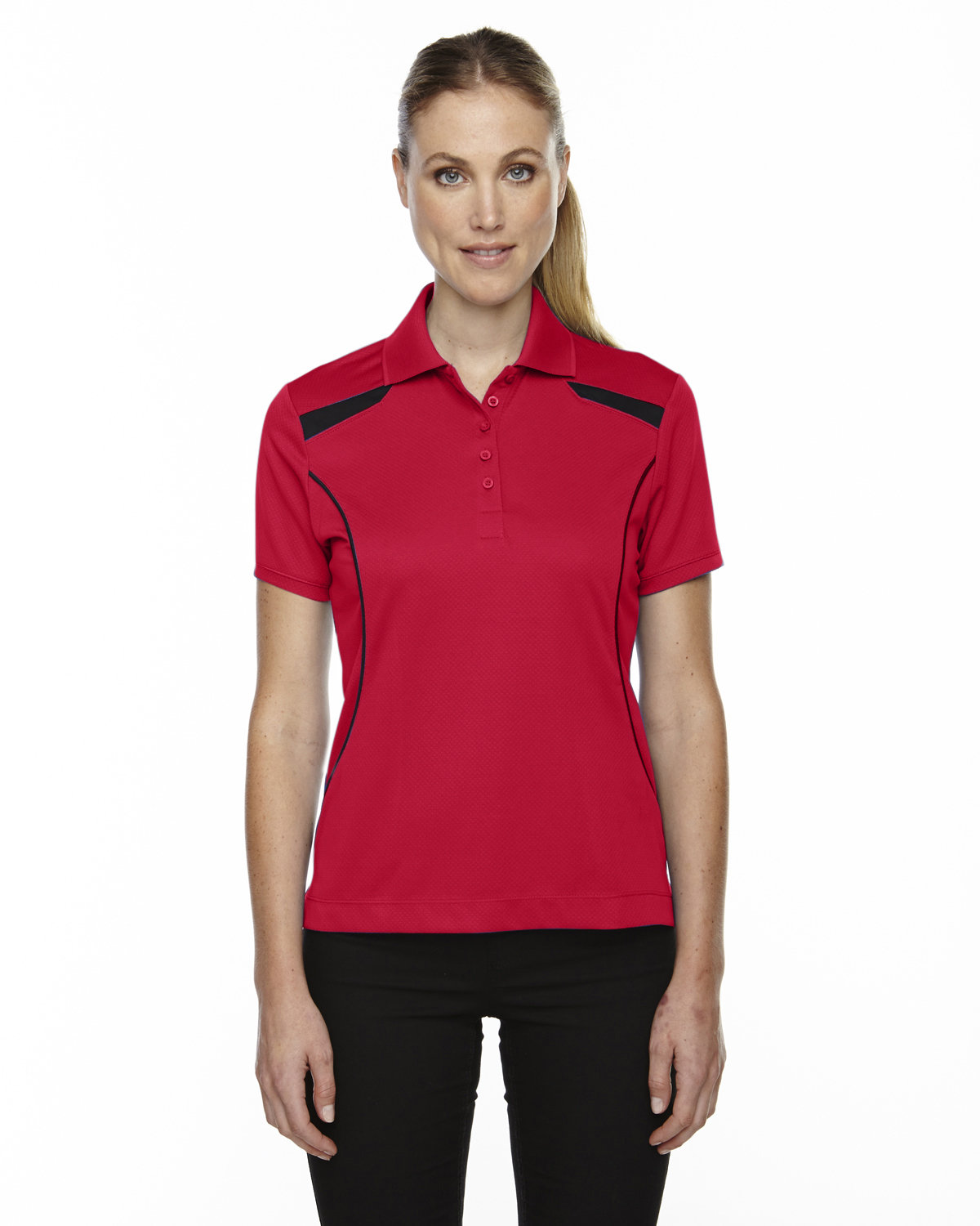 Extreme Ladies' Eperformance™' Tempo Recycled Polyester Performance Textured Polo CLASSIC RED