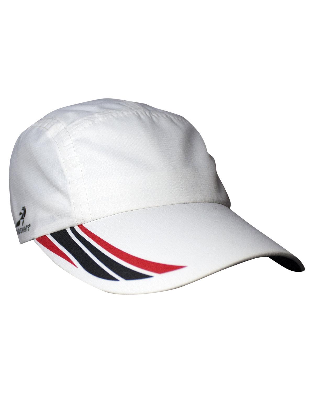Headsweats Unisex Woven Race Hat WHITE/ RED/ BLK