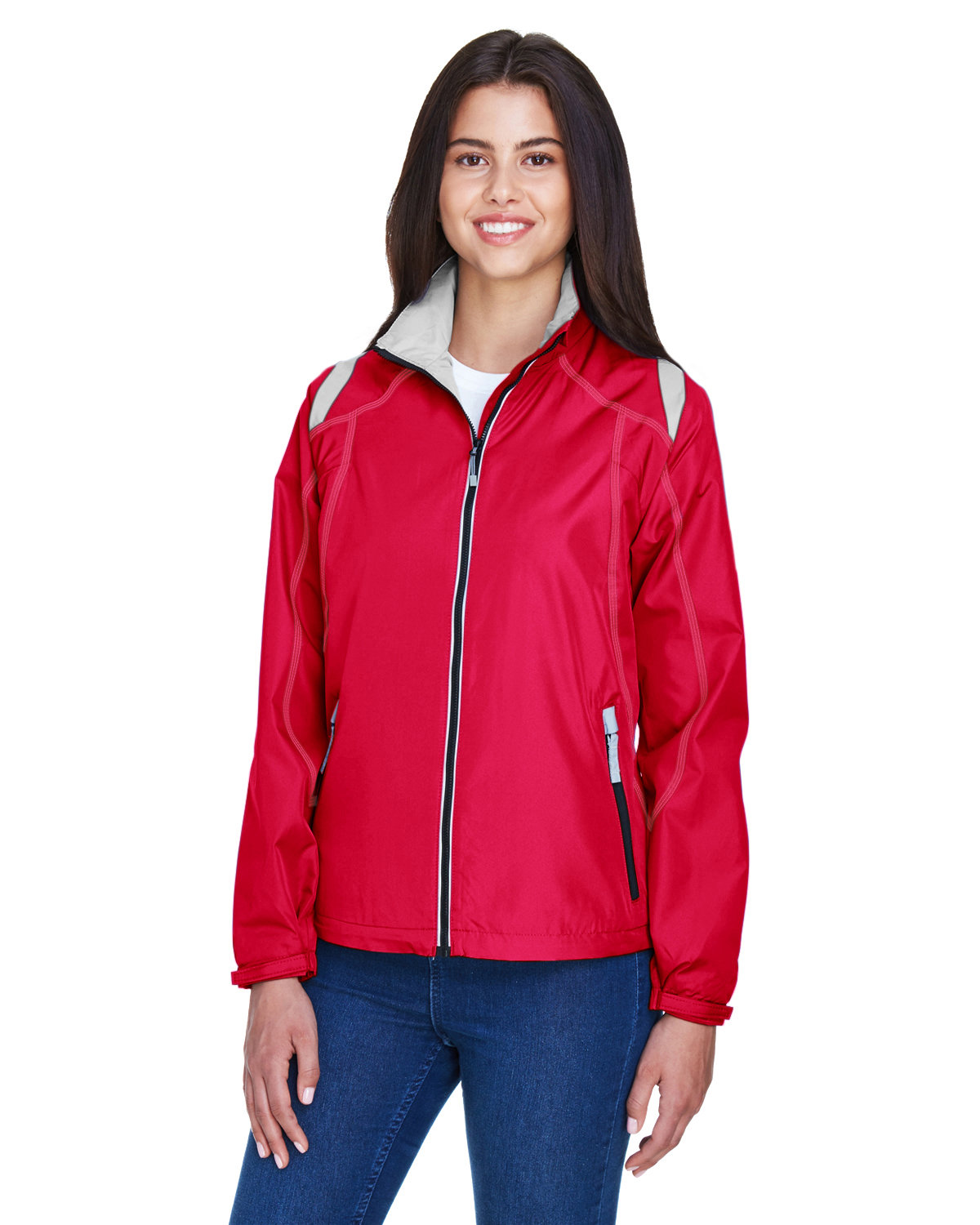 North End Ladies' Endurance Lightweight Colorblock Jacket OLYMPIC RED