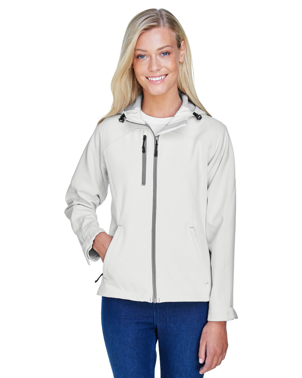 North End Ladies' Prospect Two-Layer Fleece Bonded Soft Shell Hooded Jacket CRYSTAL QUARTZ