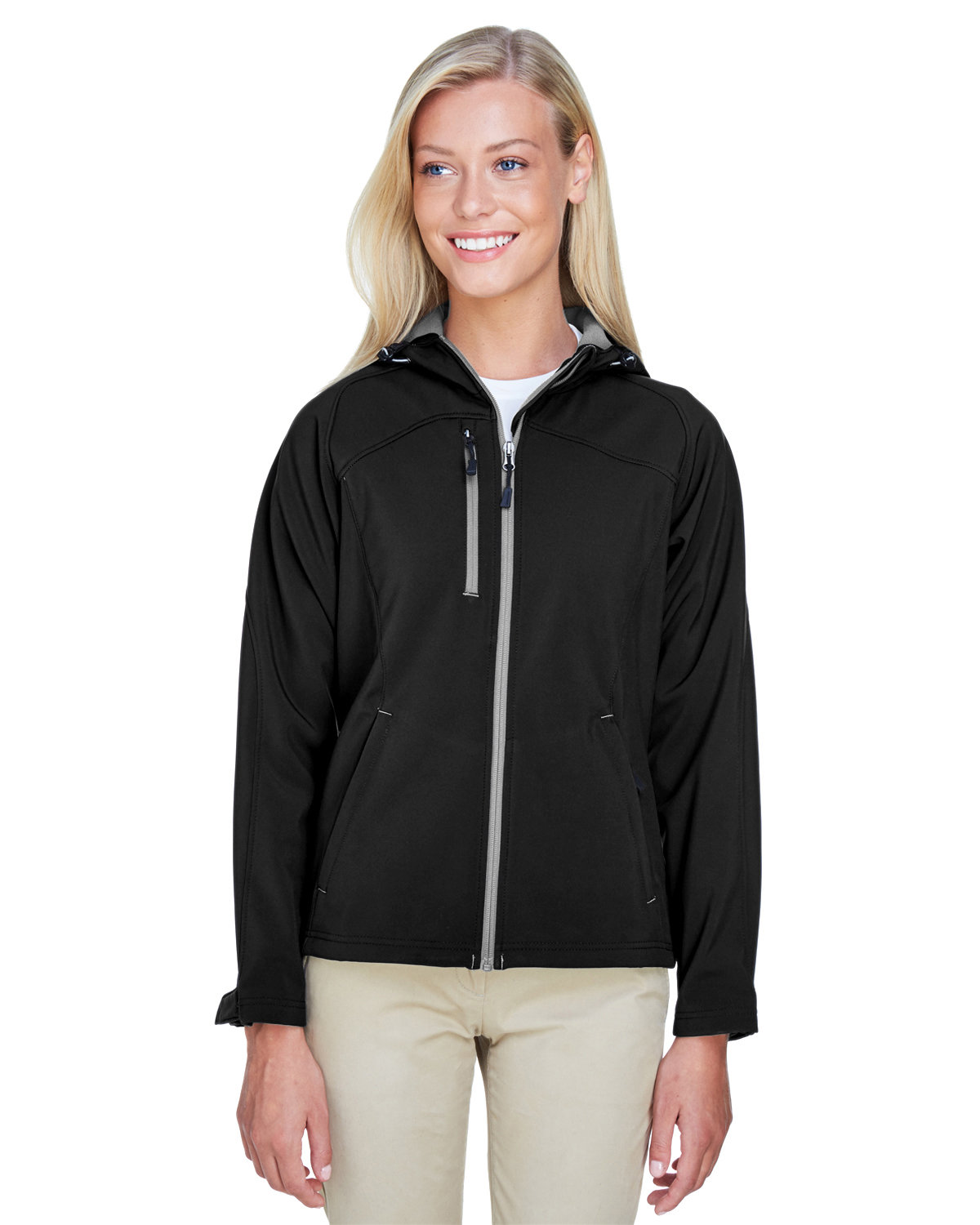 North End Ladies' Prospect Two-Layer Fleece Bonded Soft Shell Hooded Jacket BLACK