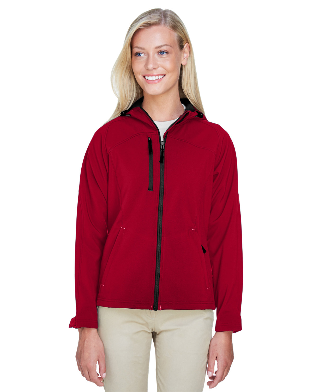 North End Ladies' Prospect Two-Layer Fleece Bonded Soft Shell Hooded Jacket MOLTEN RED