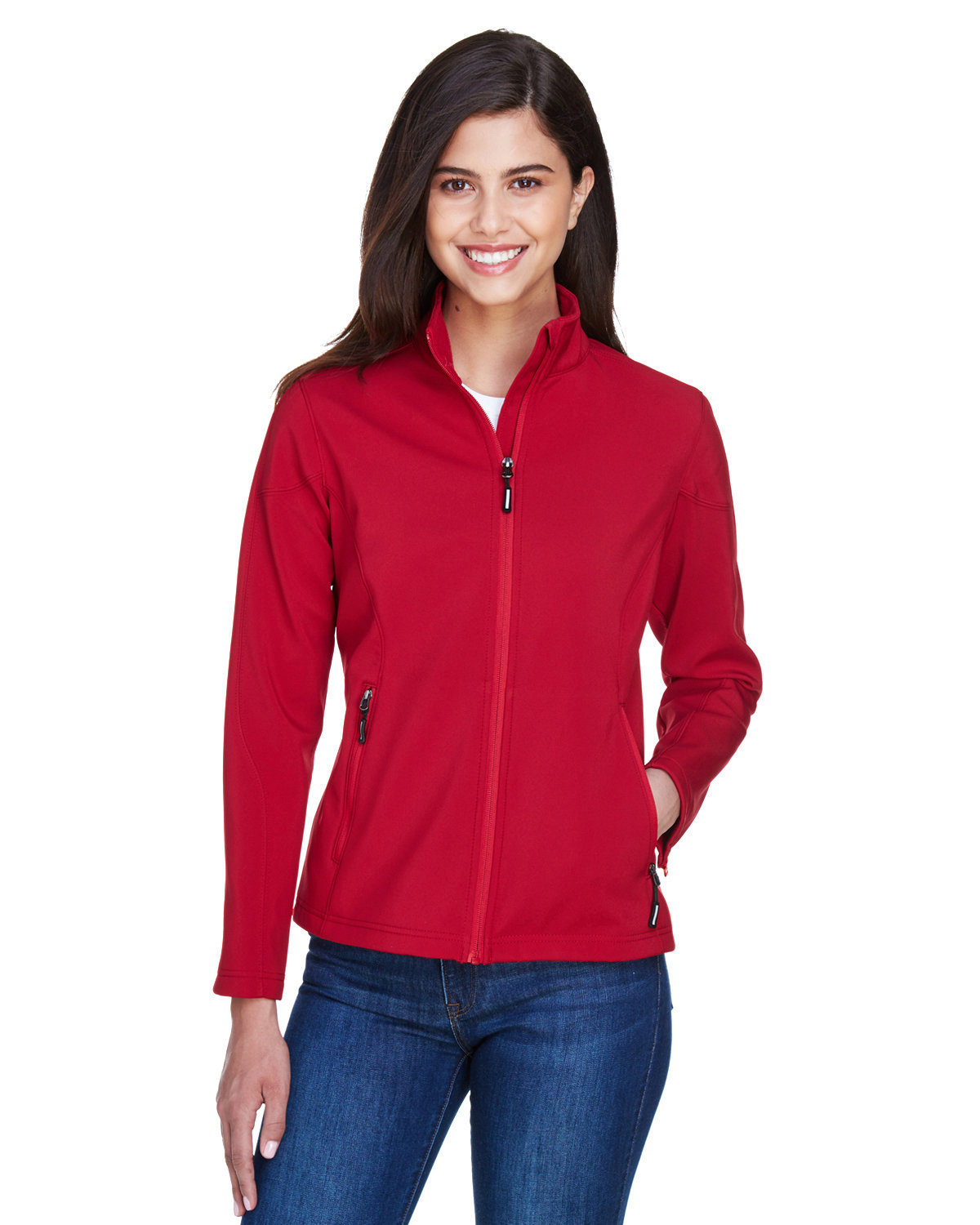 Core 365 Ladies' Cruise Two-Layer Fleece Bonded SoftShell Jacket CLASSIC RED