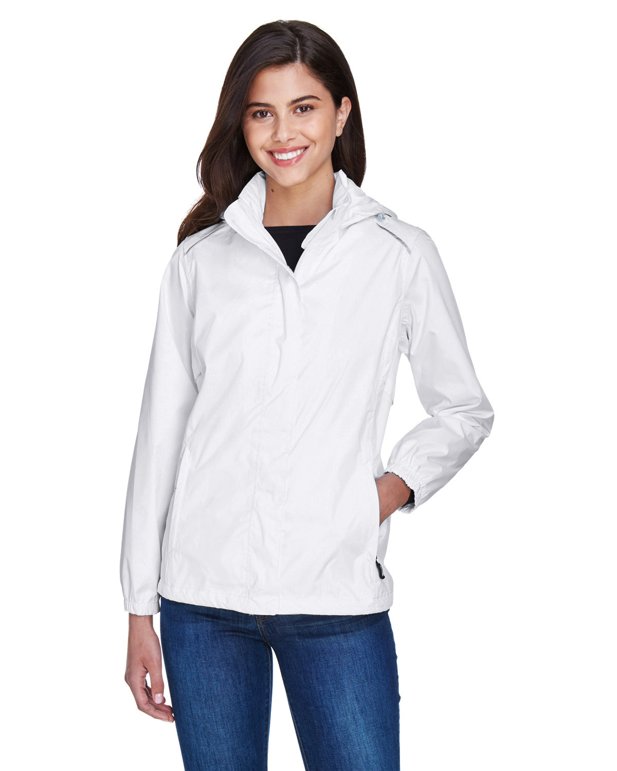 Core 365 Ladies' Climate Seam-Sealed Lightweight Variegated Ripstop Jacket WHITE
