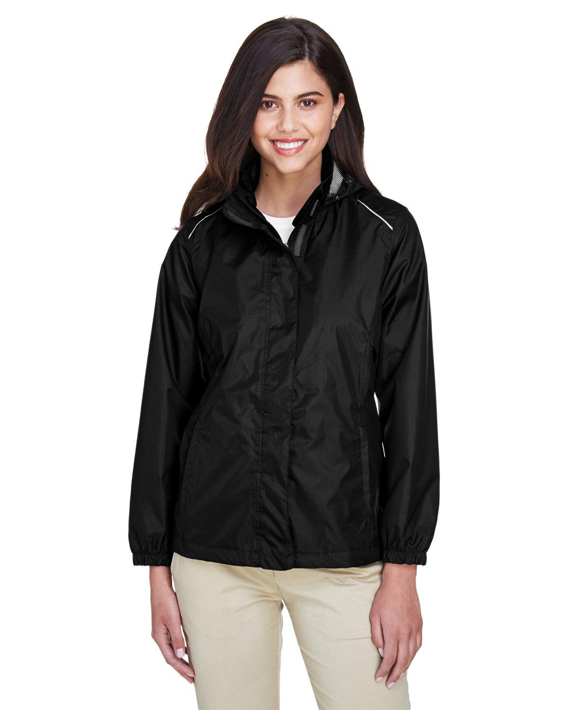 Core 365 Ladies' Climate Seam-Sealed Lightweight Variegated Ripstop Jacket BLACK