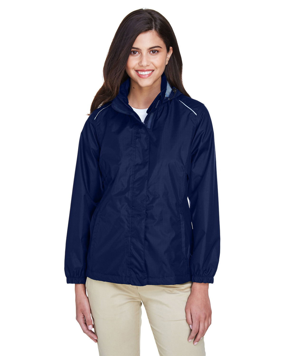 Core 365 Ladies' Climate Seam-Sealed Lightweight Variegated Ripstop Jacket CLASSIC NAVY