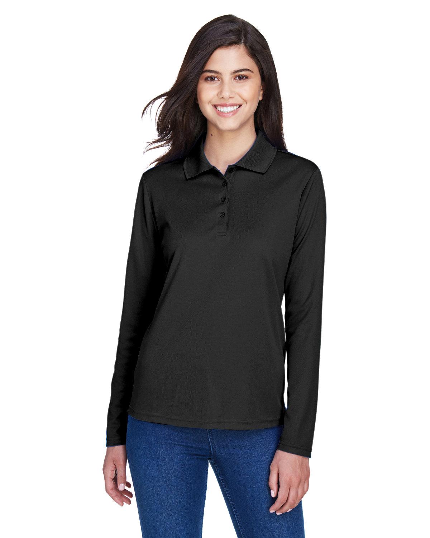 Core 365 Ladies' Pinnacle Performance Long-Sleeve Piqué Polo BLACK