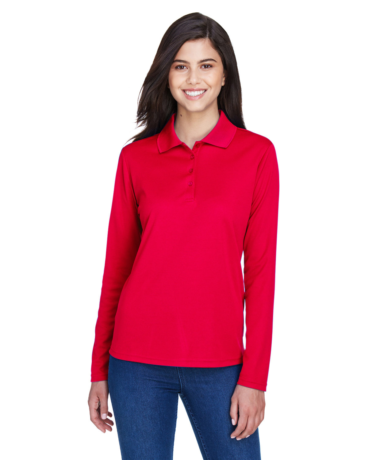 Core 365 Ladies' Pinnacle Performance Long-Sleeve Piqué Polo CLASSIC RED
