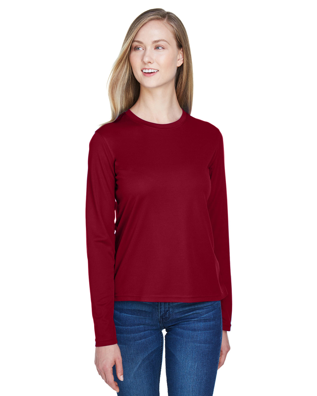 Core 365 Ladies' Agility Performance Long-Sleeve Piqué Crewneck CLASSIC RED