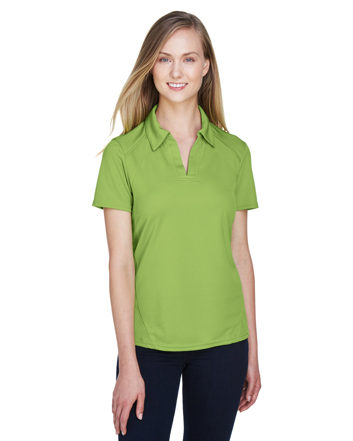 North End Ladies' Recycled Polyester Performance Piqué Polo CACTUS GREEN
