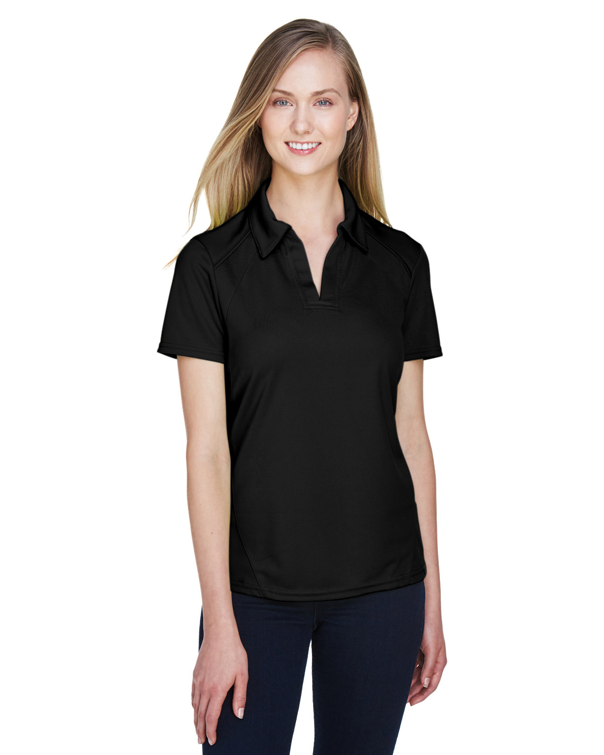 North End Ladies' Recycled Polyester Performance Piqué Polo BLACK
