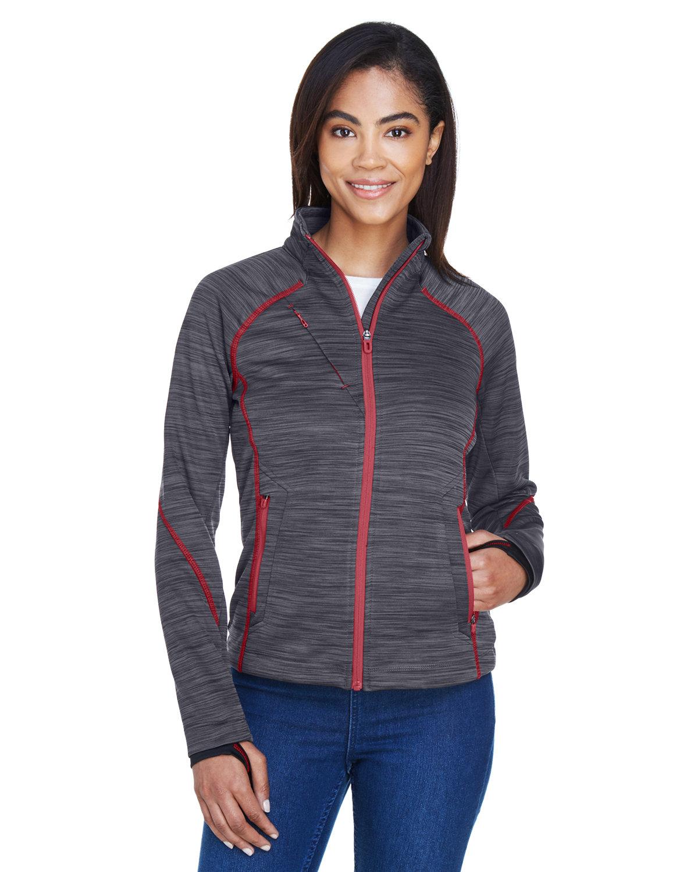 North End Ladies' Flux Mélange Bonded Fleece Jacket CARBON/ OLY RED