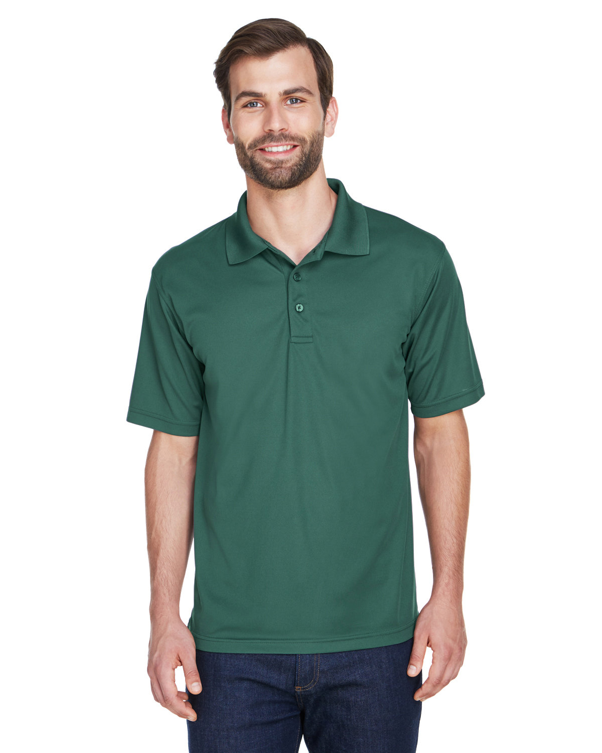 UltraClub Men's Cool & Dry MeshPiqué Polo FOREST GREEN