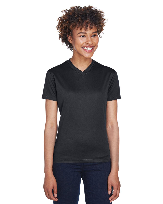 UltraClub Ladies' Cool & Dry Sport V-Neck T-Shirt BLACK
