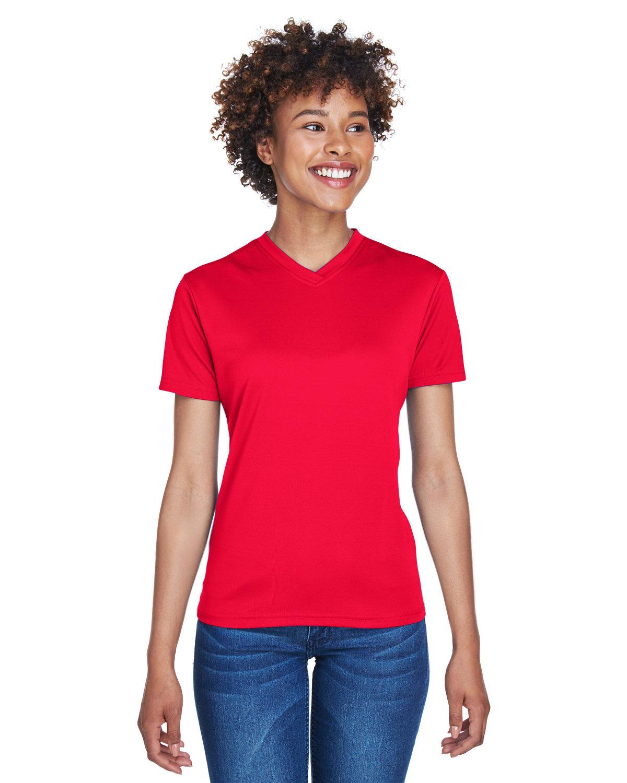 UltraClub Ladies' Cool & Dry Sport V-Neck T-Shirt RED