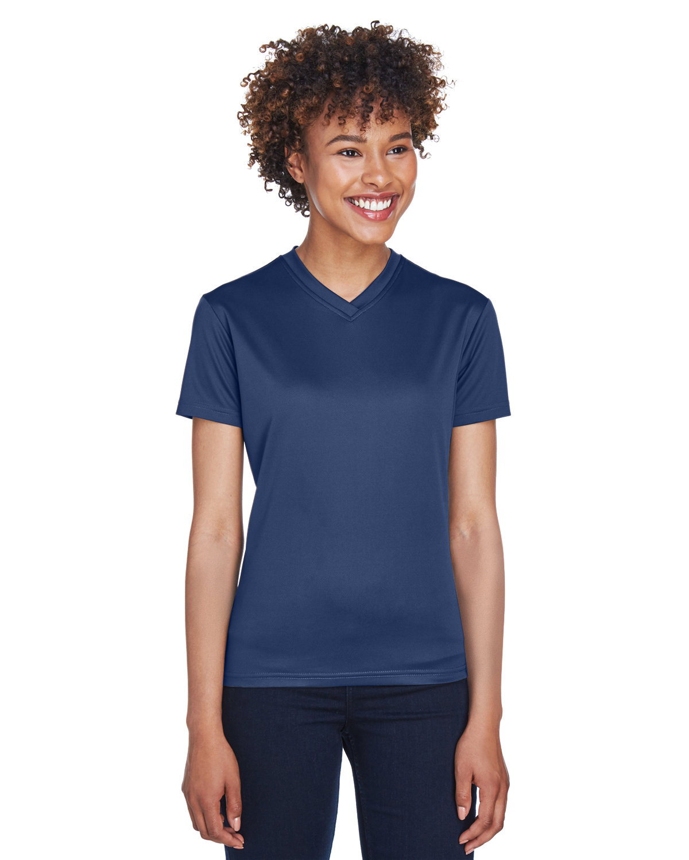UltraClub Ladies' Cool & Dry Sport V-Neck T-Shirt NAVY