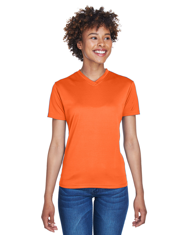 UltraClub Ladies' Cool & Dry Sport V-Neck T-Shirt ORANGE