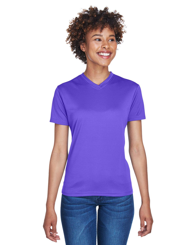 UltraClub Ladies' Cool & Dry Sport V-Neck T-Shirt PURPLE