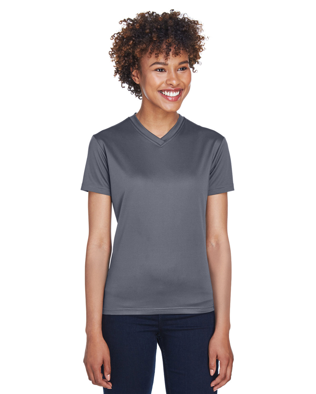 UltraClub Ladies' Cool & Dry Sport V-Neck T-Shirt CHARCOAL