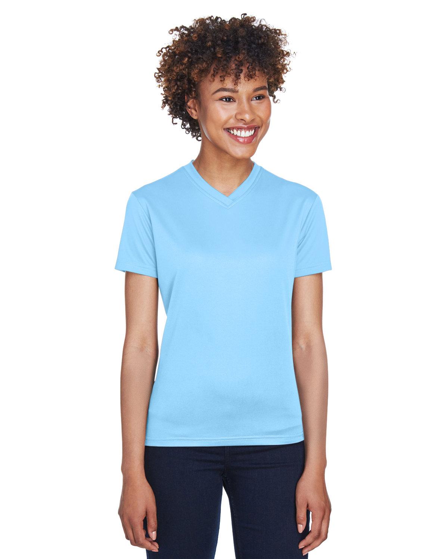 UltraClub Ladies' Cool & Dry Sport V-Neck T-Shirt COLUMBIA BLUE