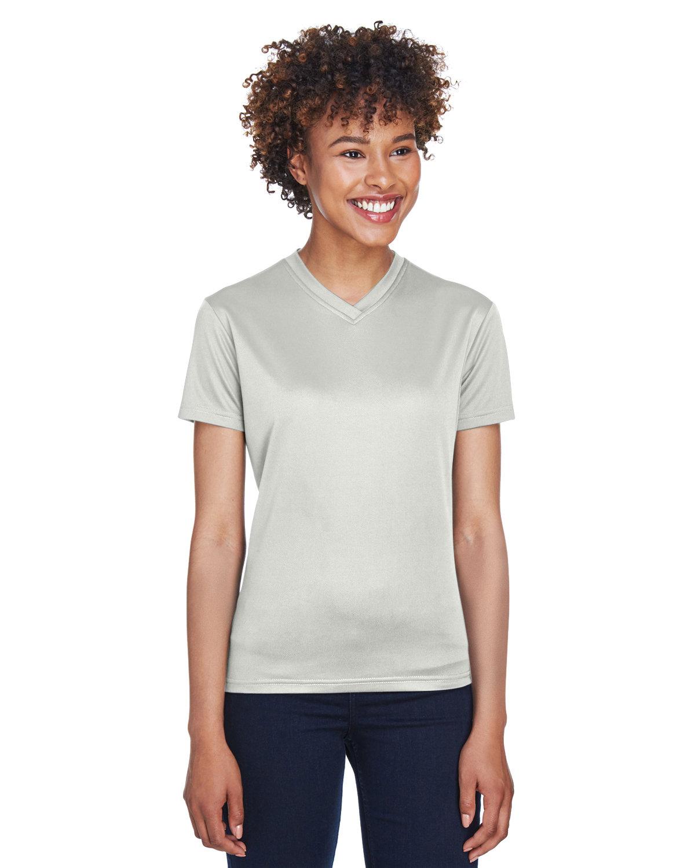 UltraClub Ladies' Cool & Dry Sport V-Neck T-Shirt GREY