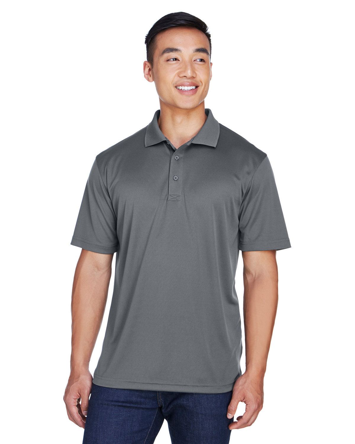 UltraClub Men's Cool & Dry Sport Polo CHARCOAL