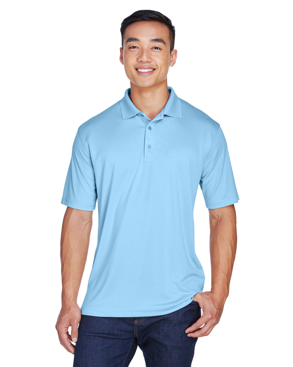 UltraClub Men's Cool & Dry Sport Polo COLUMBIA BLUE