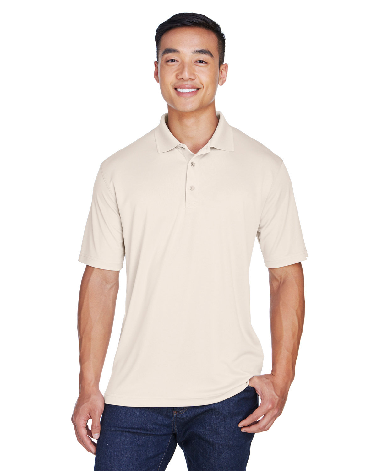 UltraClub Men's Cool & Dry Sport Polo STONE