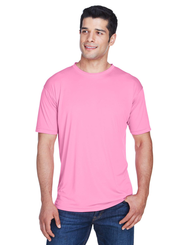 UltraClub Men's Cool & Dry Sport Performance InterlockT-Shirt AZALEA