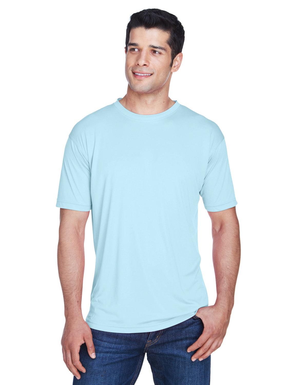 UltraClub Men's Cool & Dry Sport Performance InterlockT-Shirt ICE BLUE