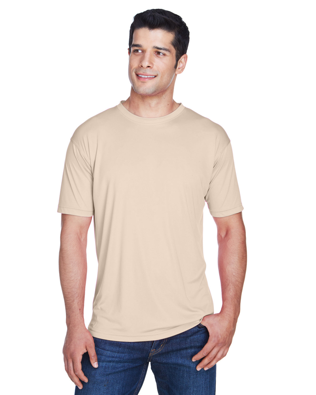UltraClub Men's Cool & Dry Sport Performance InterlockT-Shirt SAND