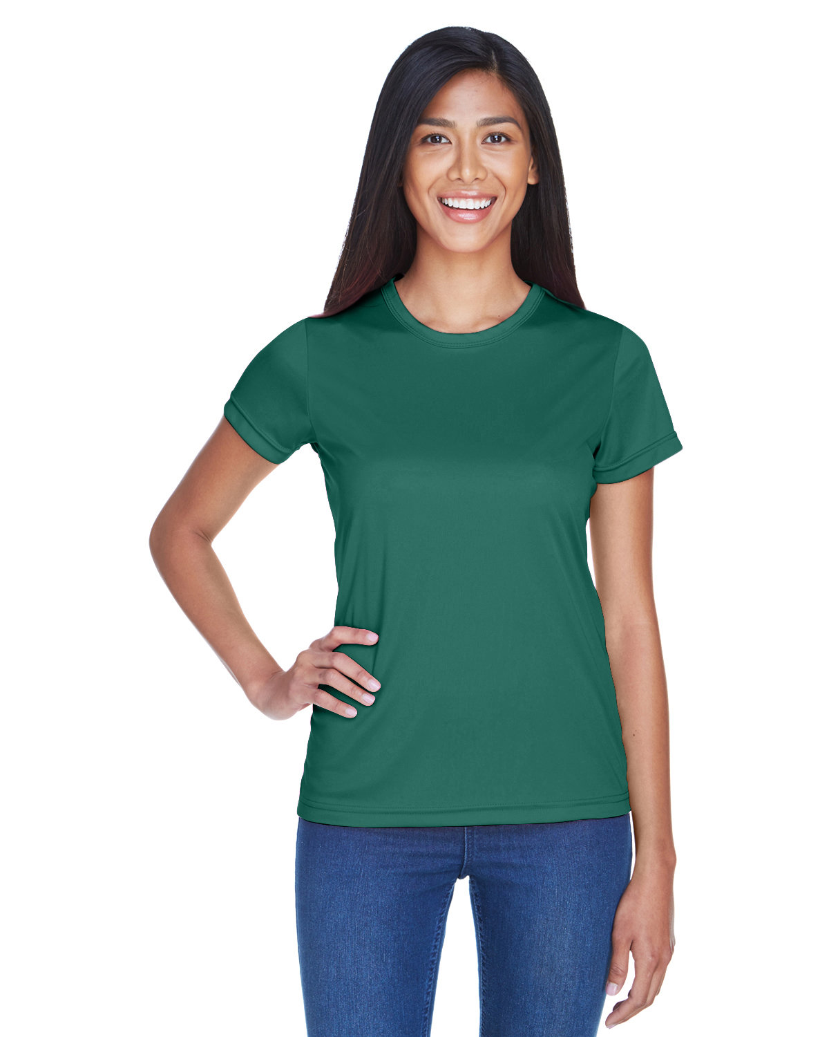 UltraClub Ladies' Cool & Dry Sport Performance Interlock T-Shirt FOREST GREEN