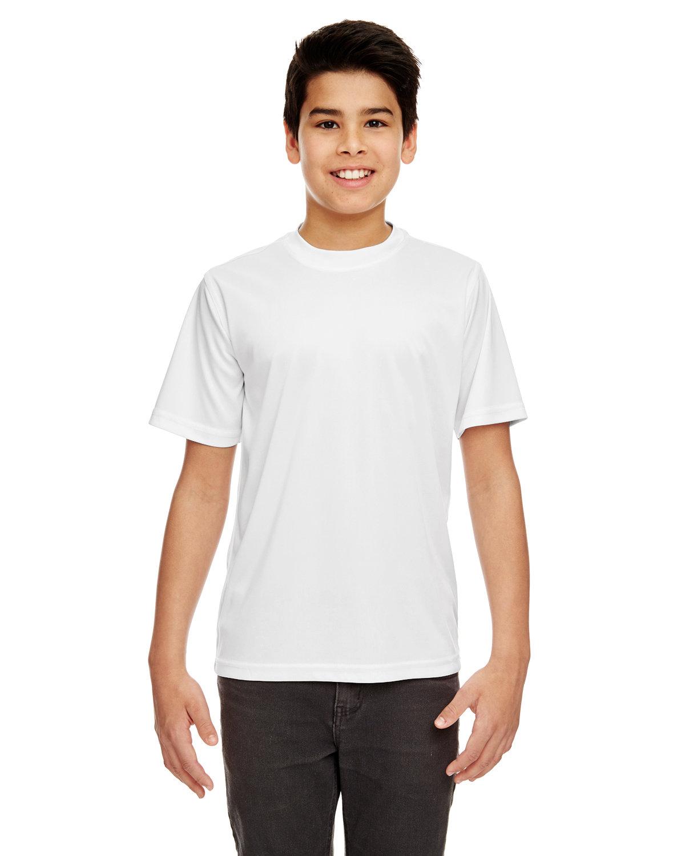 UltraClub Youth Cool & Dry Sport Performance InterlockT-Shirt WHITE