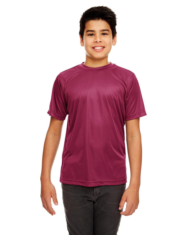 UltraClub Youth Cool & Dry Sport Performance InterlockT-Shirt MAROON