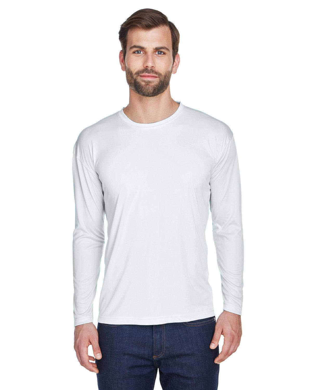 UltraClub Adult Cool & Dry Sport Long-Sleeve Performance Interlock T-Shirt WHITE