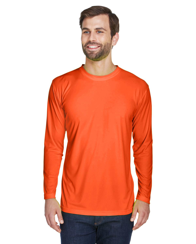 UltraClub Adult Cool & Dry Sport Long-Sleeve Performance Interlock T-Shirt BRIGHT ORANGE