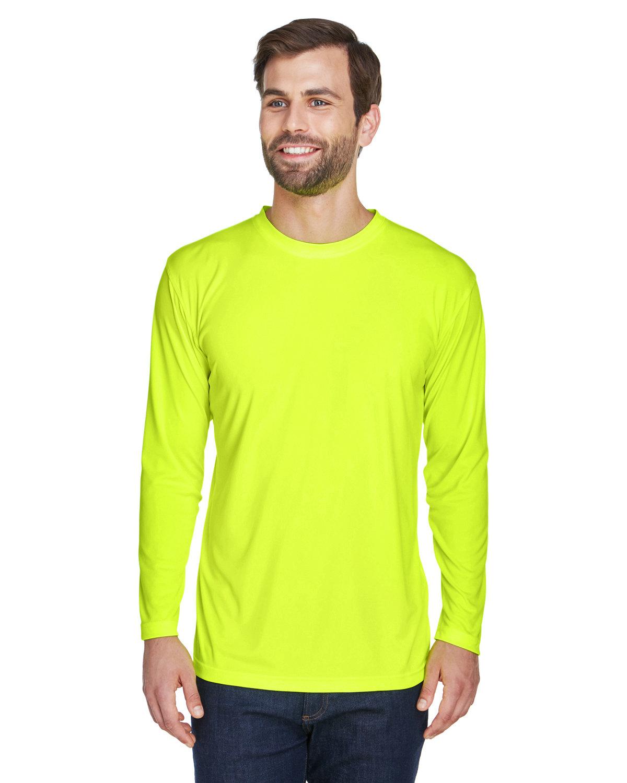 UltraClub Adult Cool & Dry Sport Long-Sleeve Performance Interlock T-Shirt BRIGHT YELLOW