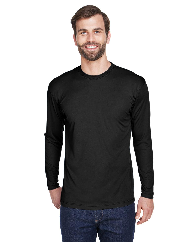 UltraClub Adult Cool & Dry Sport Long-Sleeve Performance Interlock T-Shirt BLACK