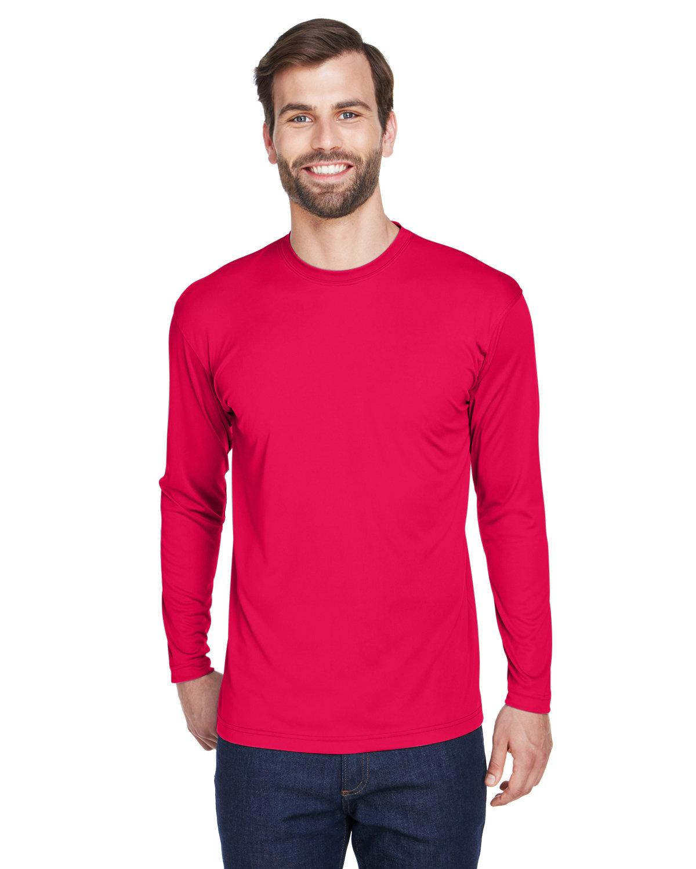 UltraClub Adult Cool & Dry Sport Long-Sleeve Performance Interlock T-Shirt RED