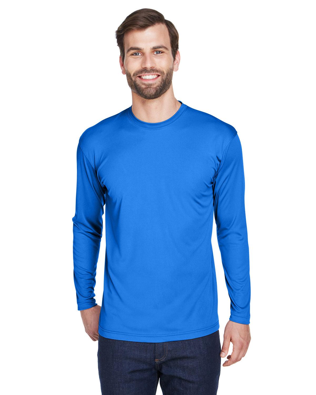 UltraClub Adult Cool & Dry Sport Long-Sleeve Performance Interlock T-Shirt ROYAL