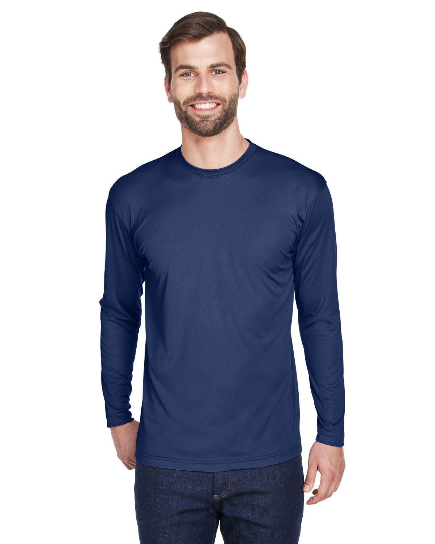 UltraClub Adult Cool & Dry Sport Long-Sleeve Performance Interlock T-Shirt NAVY