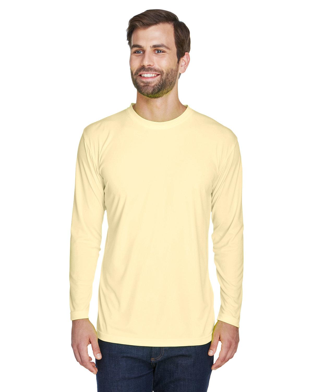 UltraClub Adult Cool & Dry Sport Long-Sleeve Performance Interlock T-Shirt BUTTER