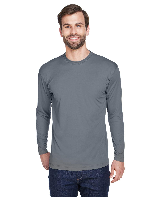 UltraClub Adult Cool & Dry Sport Long-Sleeve Performance Interlock T-Shirt CHARCOAL