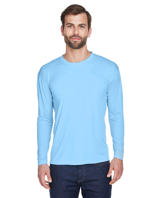 UltraClub Adult Cool & Dry Sport Long-Sleeve Performance Interlock T-Shirt COLUMBIA BLUE