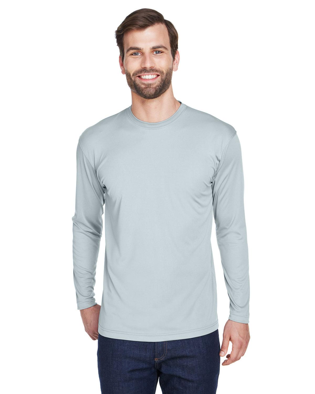 UltraClub Adult Cool & Dry Sport Long-Sleeve Performance Interlock T-Shirt GREY