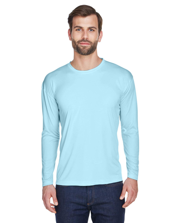 UltraClub Adult Cool & Dry Sport Long-Sleeve Performance Interlock T-Shirt ICE BLUE