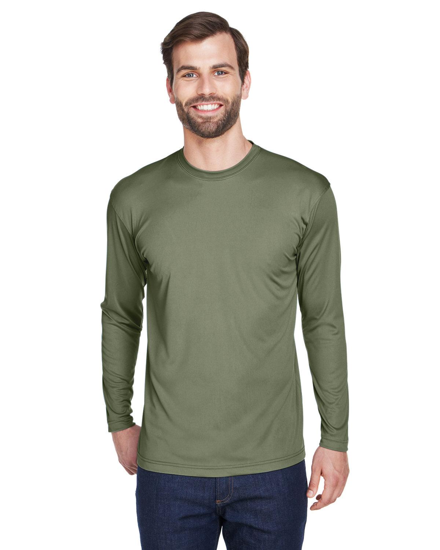 UltraClub Adult Cool & Dry Sport Long-Sleeve Performance Interlock T-Shirt MILITARY GREEN