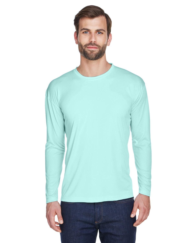UltraClub Adult Cool & Dry Sport Long-Sleeve Performance Interlock T-Shirt SEA FROST