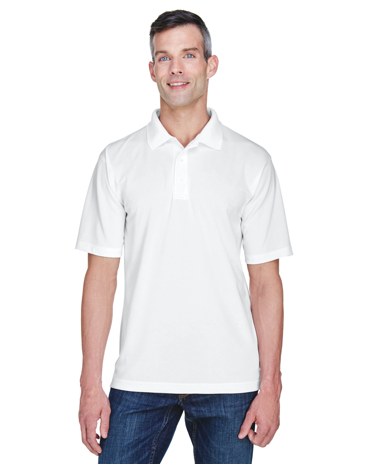 UltraClub Men's Cool & Dry Stain-Release Performance Polo WHITE