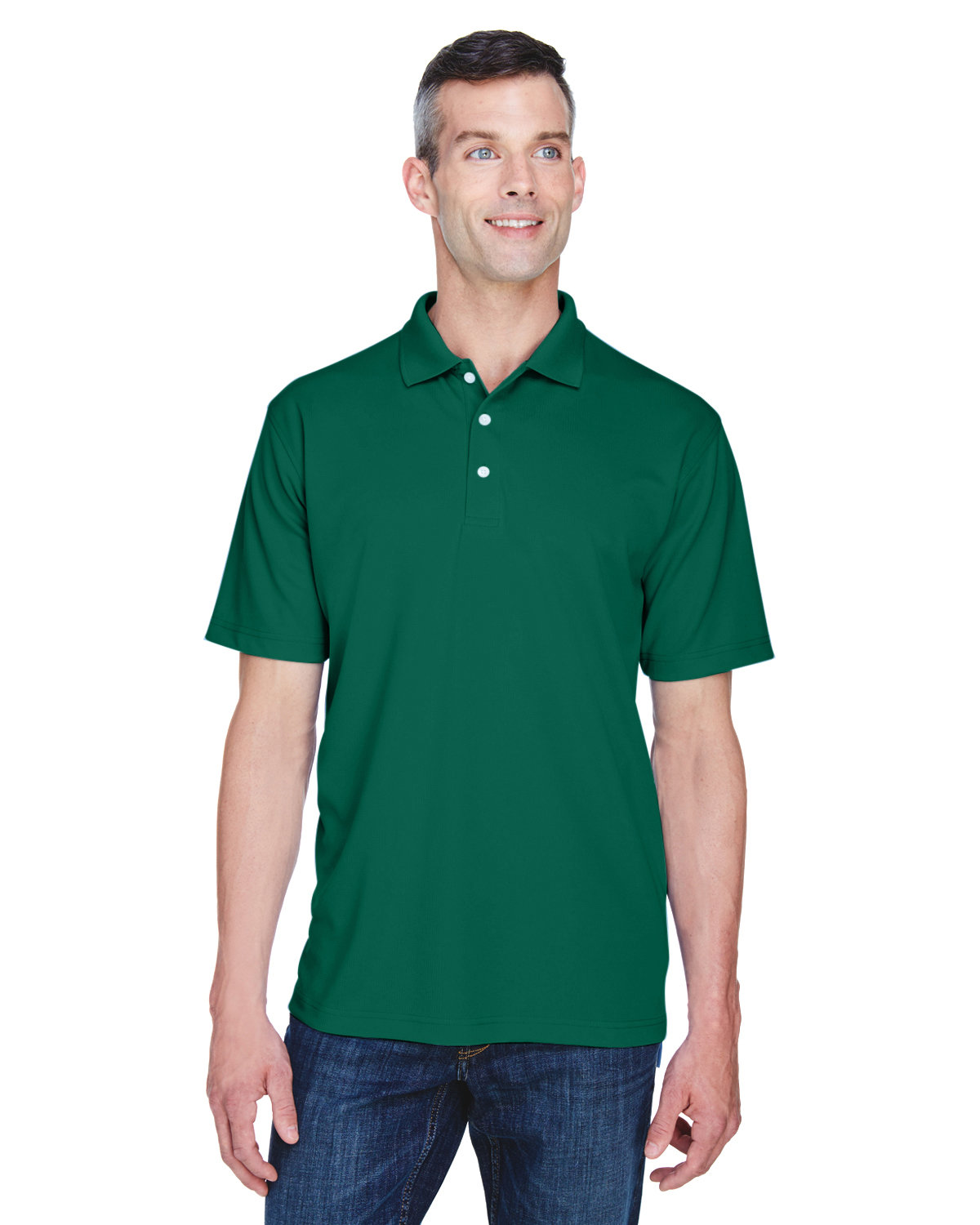 UltraClub Men's Cool & Dry Stain-Release Performance Polo FOREST GREEN